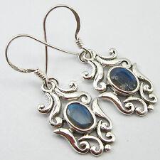 "High End Fashion Jewelry 925 Pure Silver BLUE FIRE LABRADORITE Earrings 1.4"""