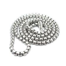 """Han Cholo Individual Box Chain - 5mm Silver Stainless Steel  Necklace 30"""""""