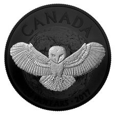 """Canada 2017 - 20$ Nocturnal By Nature The Barn Owl """"1"""" - 1 Oz Silver Proof Coin"""