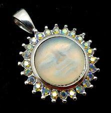 KIRKS FOLLY Seaview Moon Moonstone Glass & Aurora Borealis Necklace Pendant