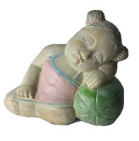 Carved Bamboo Wood Asian Girl Child Sculpture Statue Figurine Vintage