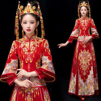 Women Flower Tassels Wedding Bride Dress Qipao Cheongsam Banquet Suit Chinese