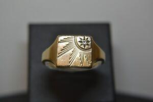 9ct Gold Gents Diamond Signet Ring