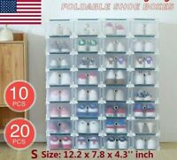 Lot 10/20 Foldable Plastic Shoe Box Small Drawer Stackable Storage Organiser Box