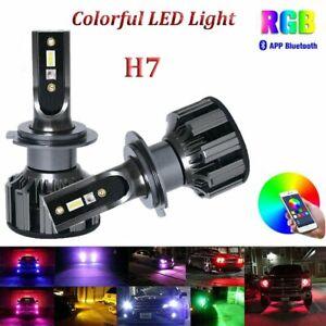 2x H7 Colorful RGB Fog Light LED Headlight Kit Bulsb 200W 32000LM Phone Control
