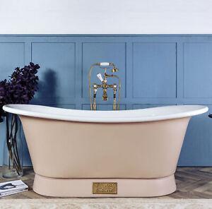 Witt & Berg Copper Bateau Bathtub - Pastel Pink Exterior / Enamel Interior
