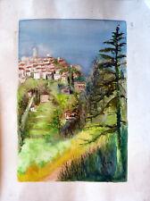 Marie-Louise LORIN (1913-?) Aquarelle 1977 Mougins Provence-Alpes-Côte d'Azur