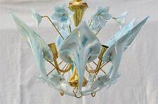 Seventies Deckenlampe mit weiss-hellblauen Glasblüten