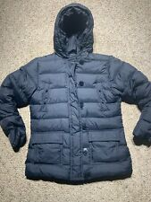 LANDS END Gray GOOSE DOWN WOMENS JACKET HOODED COAT SZ M 10-12