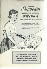 NL-015 - Owner's Manual Sunbeam Automatic Electric Frypan 1940's to 1960's Vntg