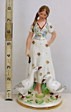 GIRL WITH DUCKS FINE PORCELAIN FIGURINE EUROPEAN ANTIQUE GOLD TRIMMED