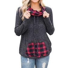 Женский длинный рукав пуловер толстовки плед повседневная толстовка топ с карманом