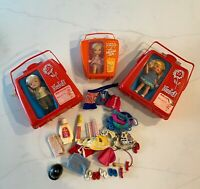 Vintage 60s Remco Pocketbook Doll Heidi And Pip Lot In Cases With Clothing