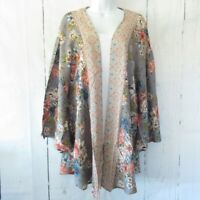 New Angie Kimono 1X Gray Pink Floral Boho Peasant Cardigan Plus Size Cottagecore