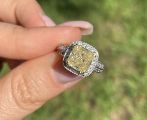Engagement Wedding Ring Diamond Asscher Ring 2.85ct Canary Yellow 18k White Gold