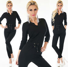 Women's Black Jumpsuit Full Suit Overall Gym Fitness Tracksuit Size 8,10,12