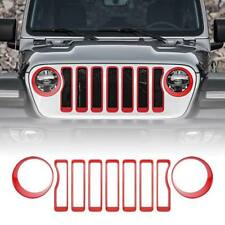 Red Mesh Grille Grill Insert + Headlight Covers Trim For 2018 Jeep Wrangler JL