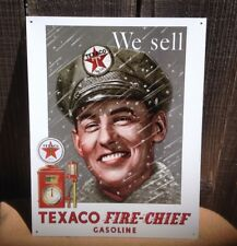WE SELL TEXACO FIRE CHIEF GASOLINE Sign Tin Vintage Garage Bar Decor Old Rustic