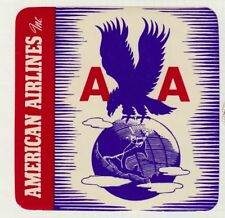 USA AMERICAN AIRLINES EAGLE & GLOBE ILLUSTRATED AIR TRANSPORT LABEL