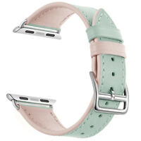 Pink Real Leather Band Strap Bracelet Watchband For Apple Watch iWatch 38mm 42mm