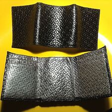 2 Men's TRIFOLD WALLETS Italian Black / Grey Leather Weave Print - Made in USA