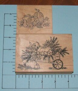 (2) Wood Mounted Rubber Stamps ~ Thanksgiving Scenes ~ Great Impressions J42 F32