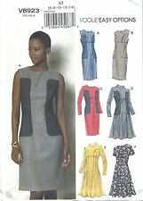 VOGUE 8923 SEWING PATTERN EASY OPTIONS SEAMED FITTED DRESS SZ A5 6-14 NEW UNCUT