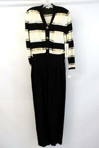 NWT $555 Vintage ANTONELLA PREVE Black Stripe SANTANA KNIT JUMPSUIT Beaded LARGE