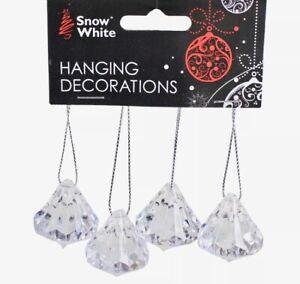 Windchime Crystal diamond Acrylic Hanging Decorations pendants 4 Pack 4cm Gems