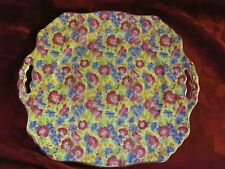 Royal Winton Grimwades chintz Royalty handled cake plate yellow blue pink
