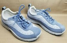 LL Bean Leather Suede Sneakers Walking Shoes Women's Size 7.5 Medium Cloud Blue