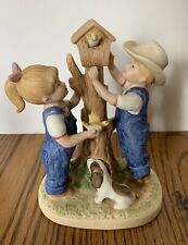 "Homco Denim Days ""Our Birdhouse"" #8888 Collectable Figurine 1985"