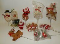 Estate Lot Vintage Figural Christmas Picks - Santa Snowman Deer Mouse Bird