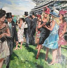 """RARE SUPERB ORIGINAL GORDON KING """"On the Course Ascot"""" Horse racing OIL PAINTING"""