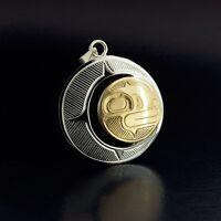 Silver and 14k Gold Crescent Moon Pendant Northwest Coast Native American Art