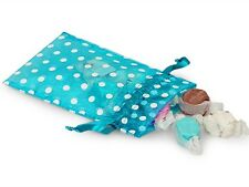 """4"""" X 6"""" Vivid Turquoise Organza Bags with White Polka Dots (10)"""