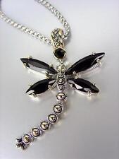 Diseñador Grueso Ónice Negro Cristales Cz Balinés Colgante Libélula Collar