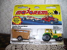 DIECAST TOY TRACTOR & ANIMAL TRAILER  MAJORETTE #323