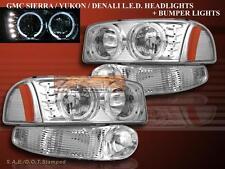 99-06 GMC Yukon Denali Sierra Denali LED Chrome Headlights Halo + Chrome Bumper