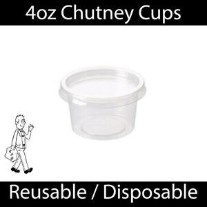 4oz Clear Plastic Chutney Cups Lids Sauce Pots Deli Dessert Condiment Reusable