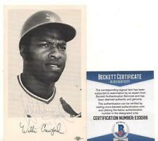 WILLIE CRAWFORD ST. LOUIS CARDINALS AUTOGRAPH POSTCARD VINTAGE BECKETT E33566