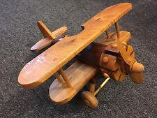 Wood Airplane Model Wooden Plane w/ Wheels Biplane Aircraft