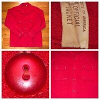Vtg 50s 60s BSA Boy Scouts America Red Men's Wool Jacket Bakelite Buttons Medium