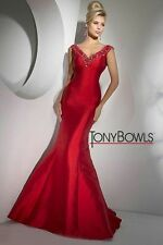 Tony Bowls Prom Dress Party  Evening  Long Sexy Color Redl Size 14