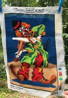 "Mostly Finished Needlepoint Sampler CLOWN Playing Violin 11"" x 15"" Margot France"