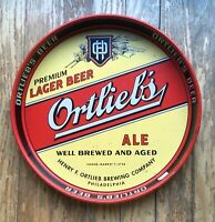 "1948 ORTLIEB'S Ale Lager Beer Tray 12"" Sign Tin Metal 7-4728 Philadelphia VTG"