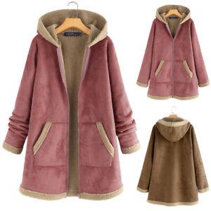 ZANZEA Femme Hiver Manche Longue Chaud Loose Manteau à capuche Veste Poche Plus