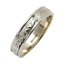 Ladies Irish Handcrafted Silver Claddagh Narrow Rounded Wedding Ring