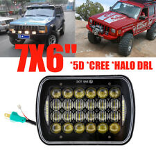 "120W 7x6"" CREE LED Headlight Halo DRL For Jeep Wrangler YJ Cherokee XJ Offroad"