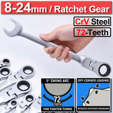 Combination Ratchet Gear Flexible Head Ratcheting Wrench Spanners Tool 12Pcs Set